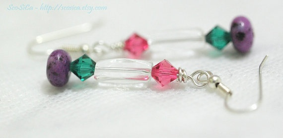 Darling Swarovski Crystal Color Spray Dangle Earrings by ScoSiCa, $12.25: Crystals Colors, Colors Sprays