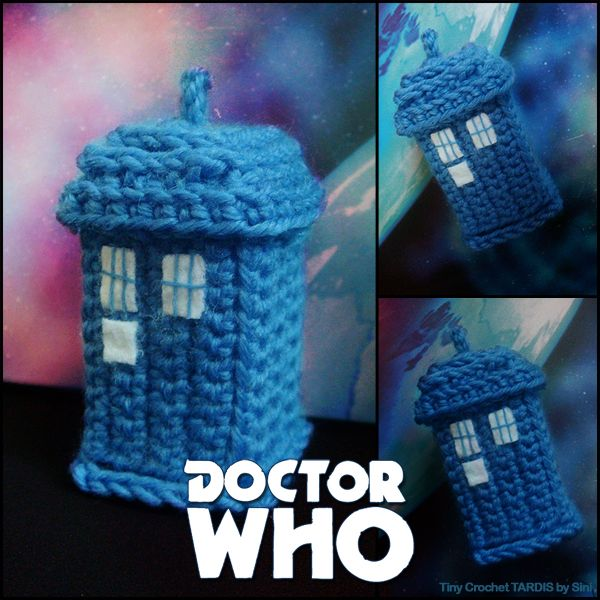 Tiny Crochet TARDIS by Sini-m