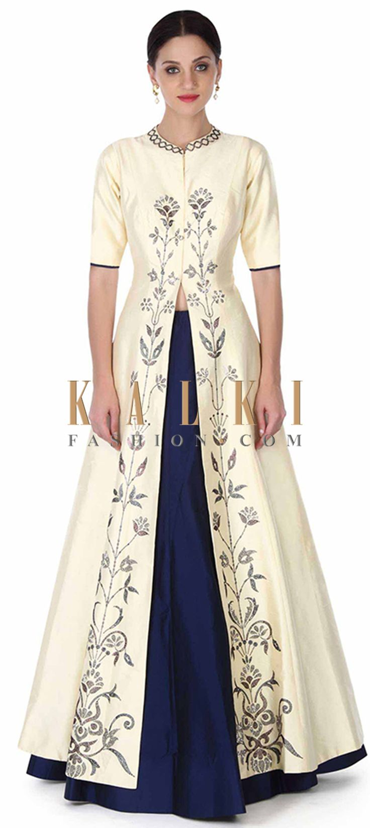 Buy this Navy blue lehenga in cream kundan embellished jacket only on Kalki