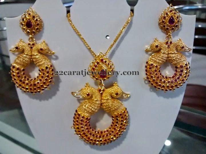 Peacock Ruby Pendant and Earrings | Jewellery Designs