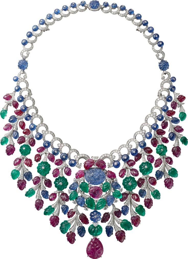 """CARTIER. """"Rajasthan"""" Collier/Broche - platine, un saphir de Birmanie gravé de 16,40 carats, un rubis poire gravé de 22,61 carats, rubis, saphirs et émeraudes gravés, boules saphir, boules saphir côtelées, diamants kite, diamants taille brillant."""