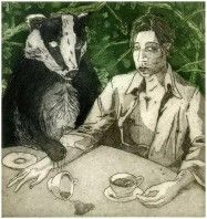 Printer Makers   Contemporary Art   Martin Ridgwell - Taking Tea with Ol' Badger