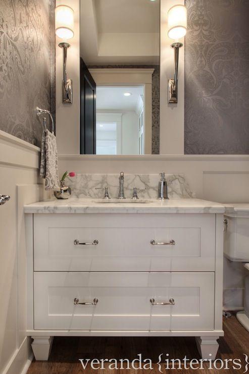 Damask Wallpaper Traditional Bathroom Veranda Interiors House Amp Home Powder Room