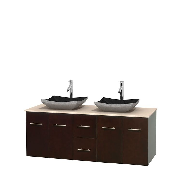 Wyndham Collection Centra Espresso 60-inch Double Ivory Marble Bathroom Vanity (60 Espresso,IvMarble Top,Avalon IvMa Sinks,No Mir), Brown, Size Double Vanities