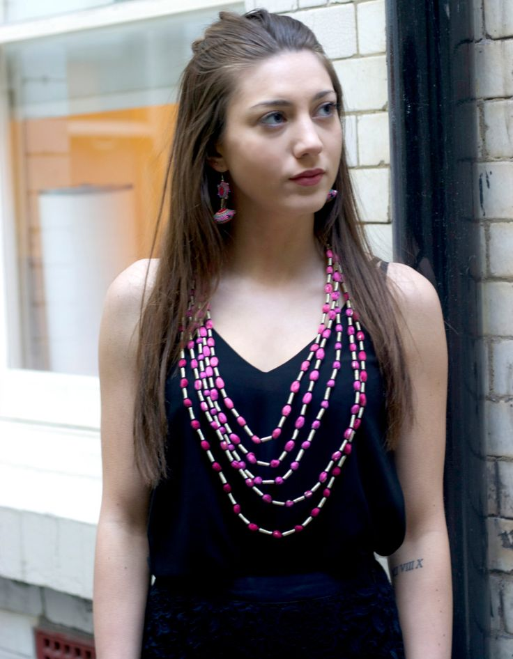 HANDMADE ETHICAL Pink OMBRE Necklace. S jo Colour Gradation series from Colour Play Collection. A unique stitch-craft statement accessory. by Sjoaccessories on Etsy