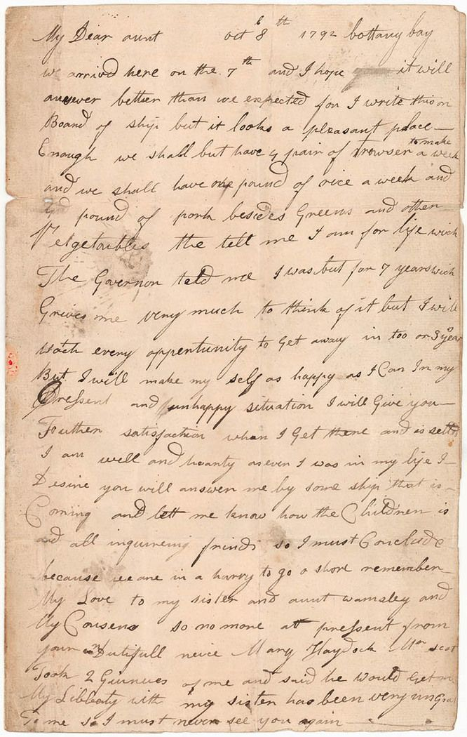 View a video recreating the writing of the 1792 letter by Mary Reibey, a convict transported to Sydney in 1792.