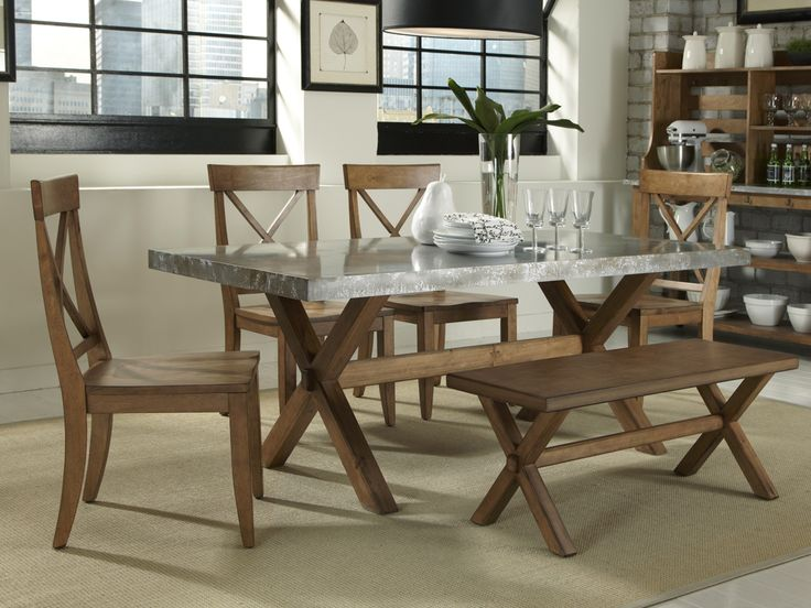 Liberty Furniture Keaton Rectangle Trestle Dining Table With Metal Top    Rooms And Rest   Dining Room Table Mankato, Austin, New Ulm, Minnesota