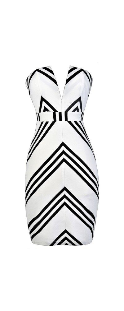 Get The Point V Dip Neckline Strapless Dress in White/Black  www.lilyboutique.com