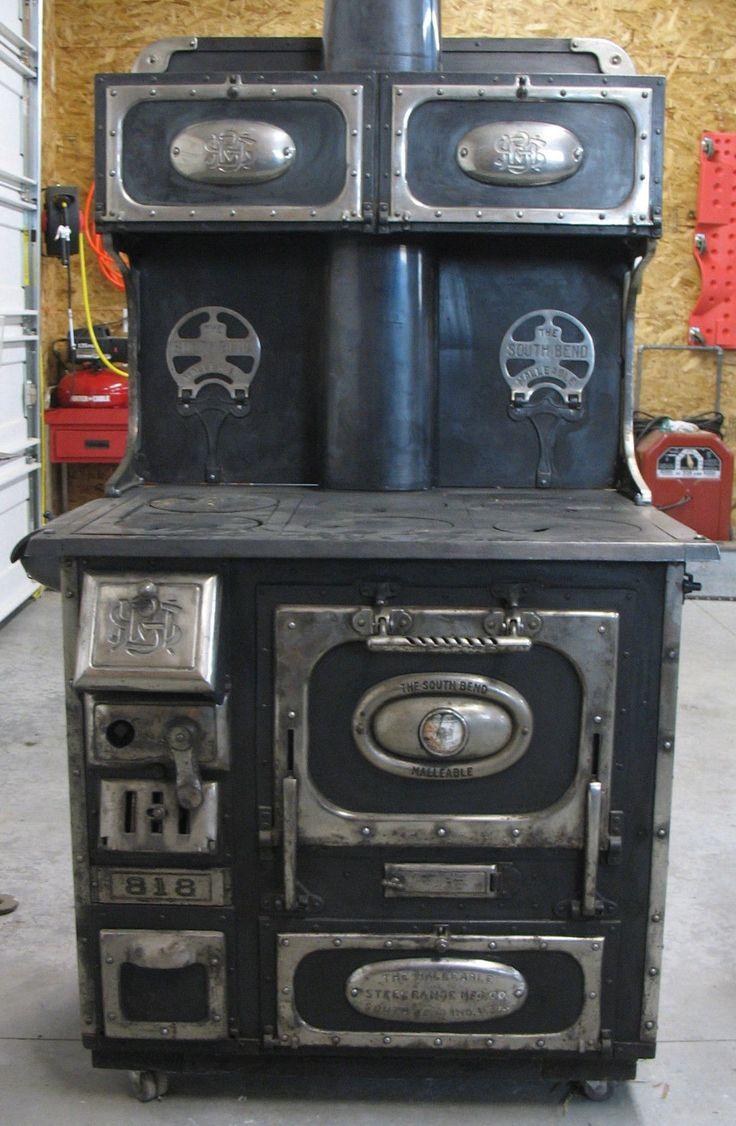 Old Antique South Bend Malleable Wood Cook Stove Black