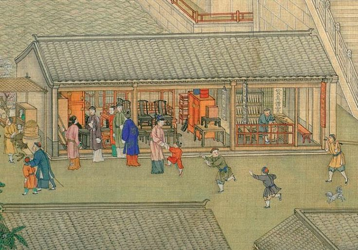 Detail of The Qianlong Emperor's Southern Inspection Tour, Scroll Six: Entering Suzhou along the Grand Canal; Xu Yang (Chinese, active ca. 1750–after 1776) and assistants. Dated 1770. Handscroll; ink and color on silk. The Metropolitan Museum of Art, New York. Purchase, The Dillon Fund Gift, 1988. 1988.350a–d.