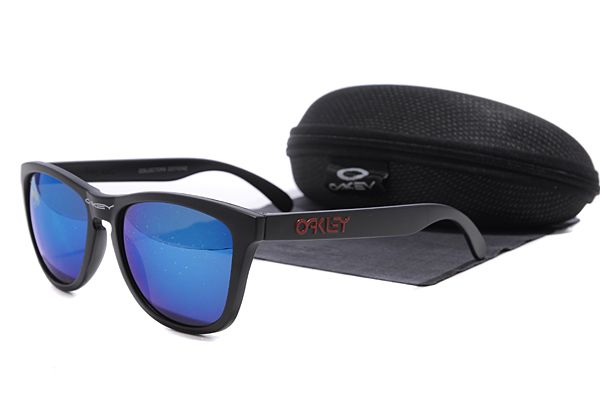 Oakley Frogskins Sunglasses Black Frame Dark Blue Lens , sale  $16 - www.hats-malls.com
