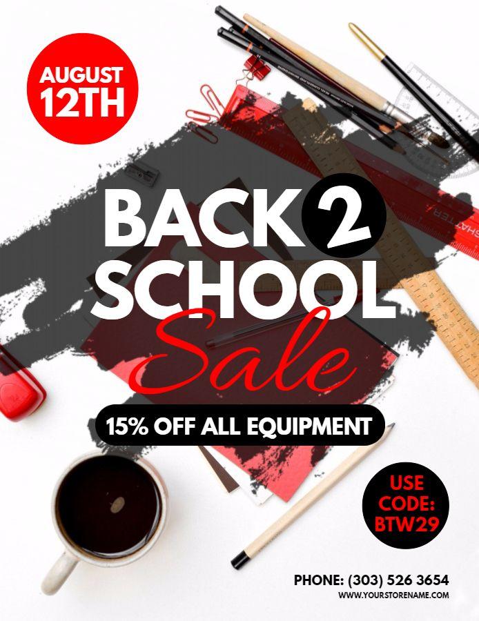 Back to school sale flyer design template