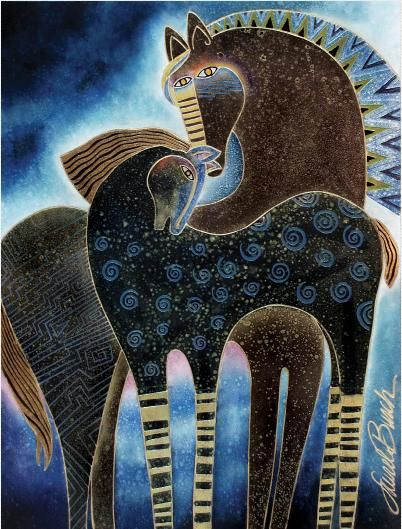 Indigo Sky Mares--by Laurel Burch.  I'm so happy to discover this image, I love her work but had never seen this one before...