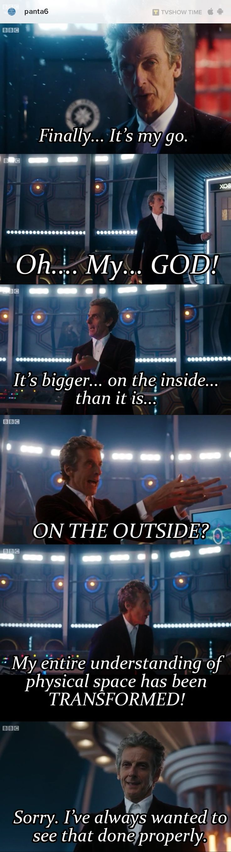 I wonder if Peter Capaldi has had this thought and the scene was inspired by his frustration as well :)