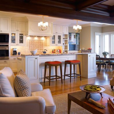 Attractive Open Concept Kitchen Living Room With Accents To Tie Both Rooms Together.