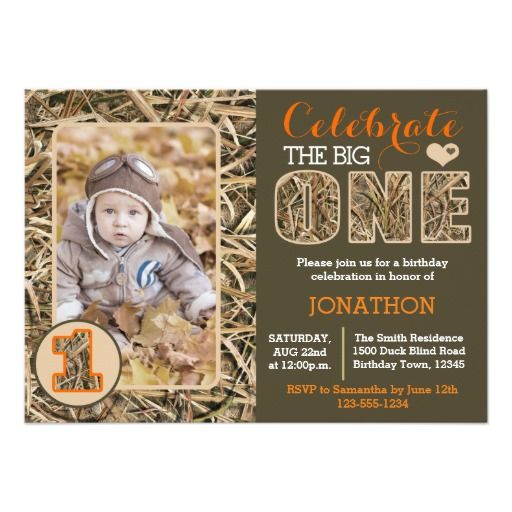 Duck Camo / Camouflage First Birthday Party Card
