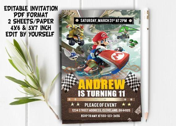 Mario Go Kart Editable Mario Go Kart PDF Editable Mario Go