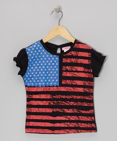 Loving this Black American Flag Tee - Girls on #zulily! #zulilyfinds