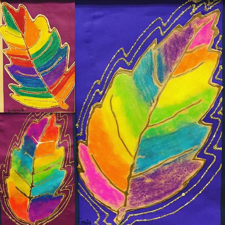 Sharpies, paint, and paper! Oh my!: Rainbow glitter leaves #elementaryart #glittereverywhere #fourthgrade