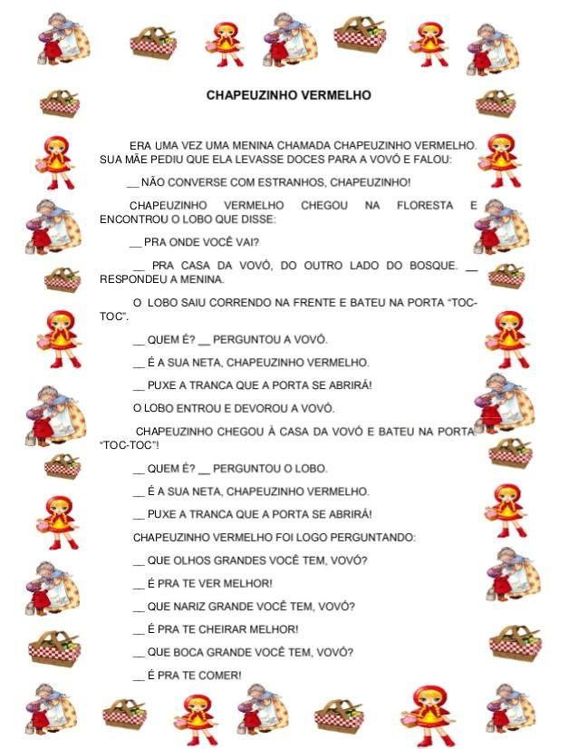 Historia Infantil Chapeuzinho Vermelho Original Para Imprimir Com