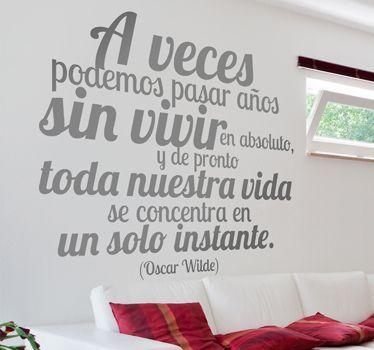 Vinilo decorativo texto Oscar Wilde - TenVinilo