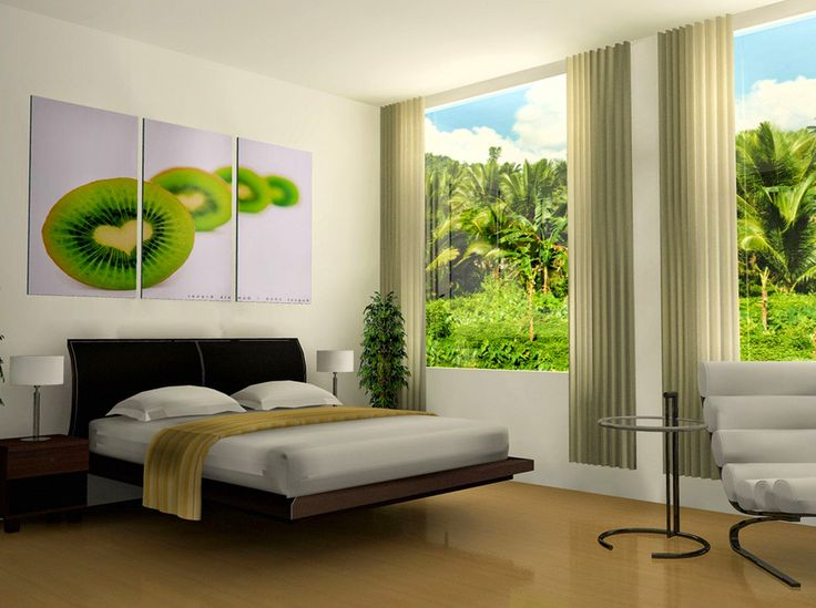 Curtain design laminate wood flooring modern bed design stand lamp on the table contemporary white relax chair fruits painting art decor home décor to