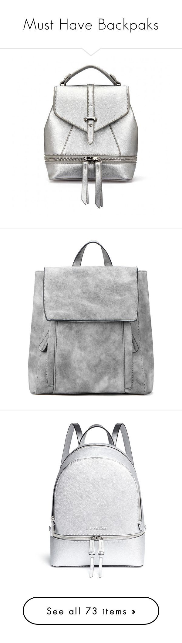 """Must Have Backpaks"" by keepfashion92 ❤ liked on Polyvore featuring MustHave, backpack, itbag, bags, backpacks, yoins, bolsas, silver, vegan backpack and silver bag"
