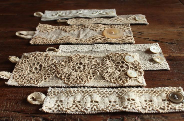 """-Rectangles of heavy linen, .75"""" wider than your wrist. Pin on strips of lace, pieces of doilies, secure with tiny stitches. Sew button loops and buttons on..."""