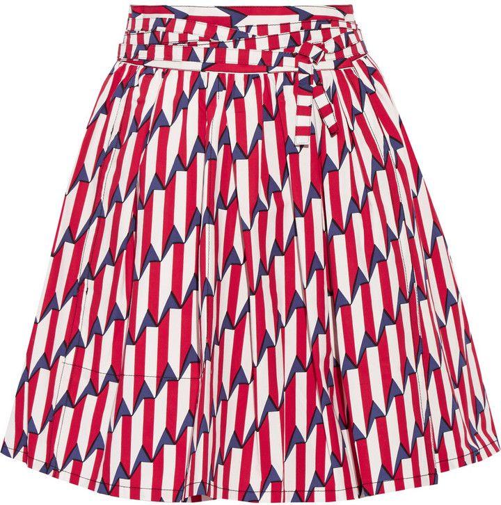 Marc Jacobs Printed Stretch-Cotton Poplin Wrap Skirt