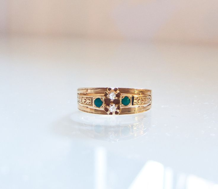 Antique Art Nouveau Jugend Stil Turquoise and Diamond 18k Gold Ring Hallmarked FREE SHIPPING by AtelierZetun on Etsy https://www.etsy.com/listing/231277836/antique-art-nouveau-jugend-stil