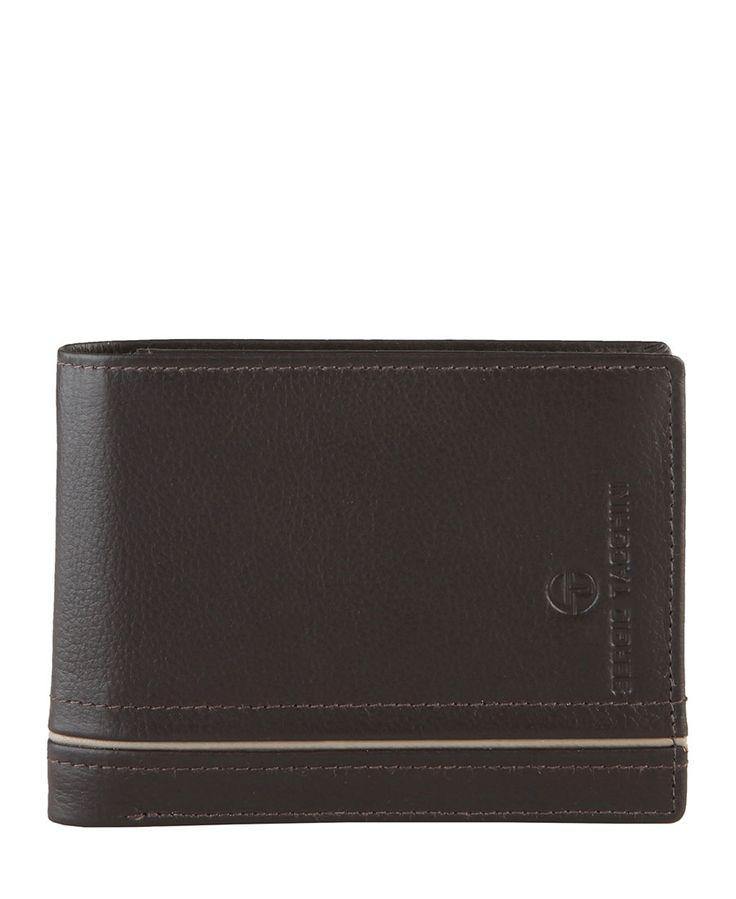 Sergio tacchini - portafoglio uomo - 100% pelle con logo - portamonete, uno scomparto per banconote, porta carte di cred - Portafoglio uomo Marrone