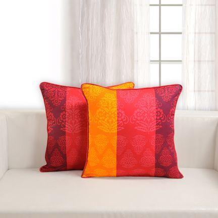 Diwalidecor fabfurnish swayam floral orange and red printed cushion coversset of 5