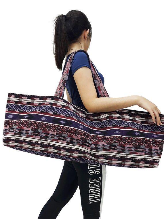 Handmade Yoga Mat Bag Sports Bags Woven Cotton Yoga Bag Tote Etsy In 2020 Tie Dye Bags Yoga Bag Yoga Mat Bag