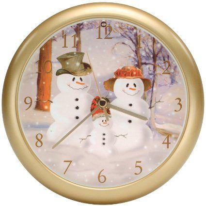 Amazon.com - Christmas CAROL tunes sound SNOWMAN snow Holiday WALL Clock musical - Wall Clocks