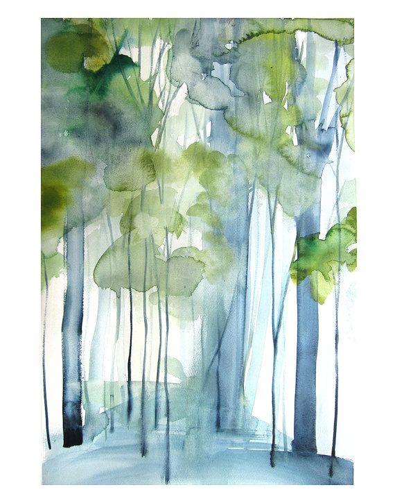 Kunstwerk Landschaftsmalerei – neue Wachstum – Aquarell – 11 x 14-Giclée-Druck der ursprünglichen Malerei – Landschaft mit grünen Bäumen – Birken