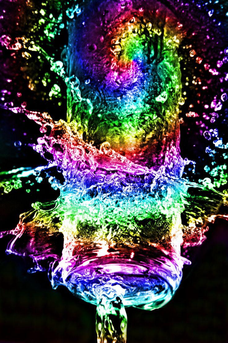 neon rainbow water