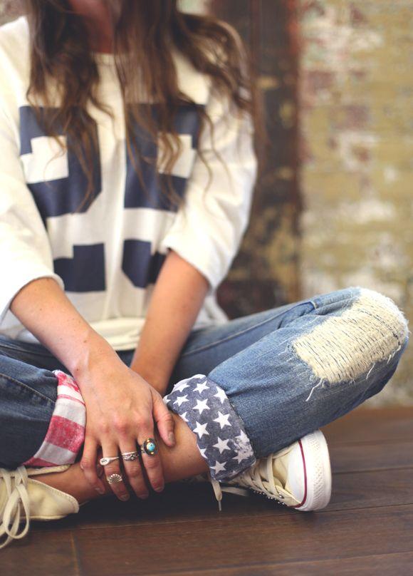 DIY American flag cuffs.