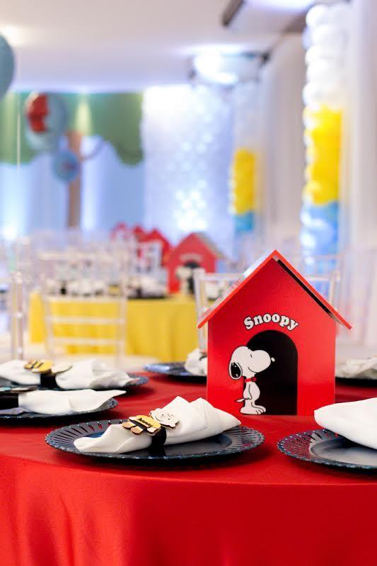 Uma Combinação de cores linda de se ver nessa festa com o tem Snoopy decorada pela querida Gina Mondego! O cenário parecia estar entrando em...