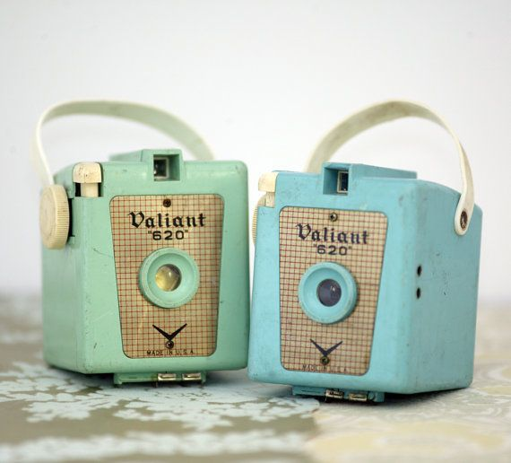 vintage candy color cameras