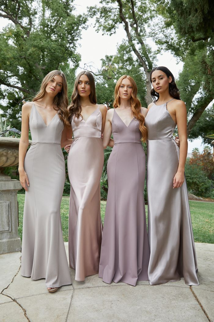 The 2020 Bridesmaid Trends Your Girls Want To Wear Junebug Weddings Spring Bridesmaid Dresses Satin Bridesmaid Dresses Silver Bridesmaid Dresses