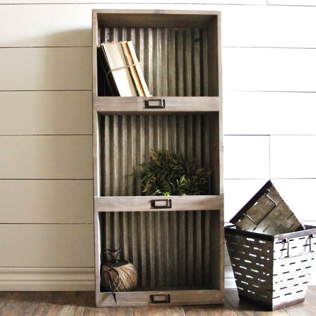 I love this galvanized shelf.  Playroom organization, farmhouse kitchen, kids bedroom, farmhouse bathroom.  (affiliate)