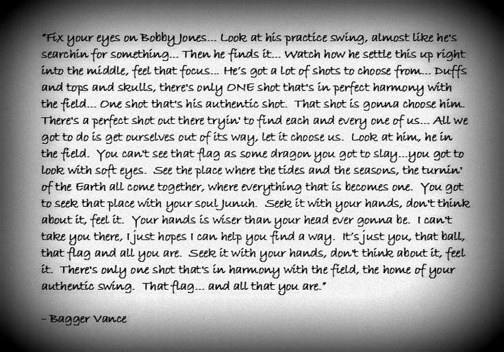 bagger vance quotes - Google Search