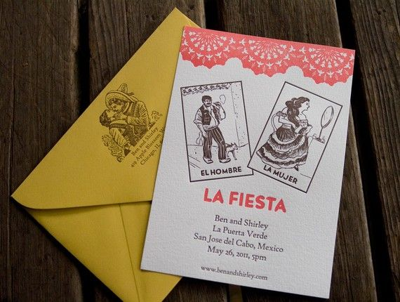 Deposit for Mexican Loteria Letterpressed Wedding ...