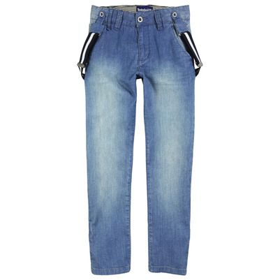 Timberland - Regular fit stone-washed blue jeans with braces - 36903