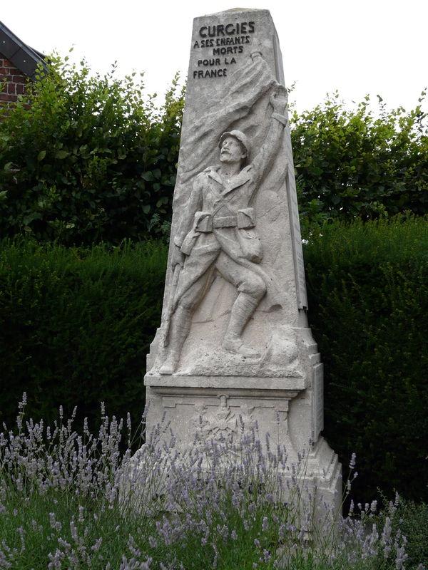 Monument aux morts civils de la Grande Guerre, Curgies, Valenciennes. Memorial to the civilian dead of the Great War, Curgies, Valenciennes.