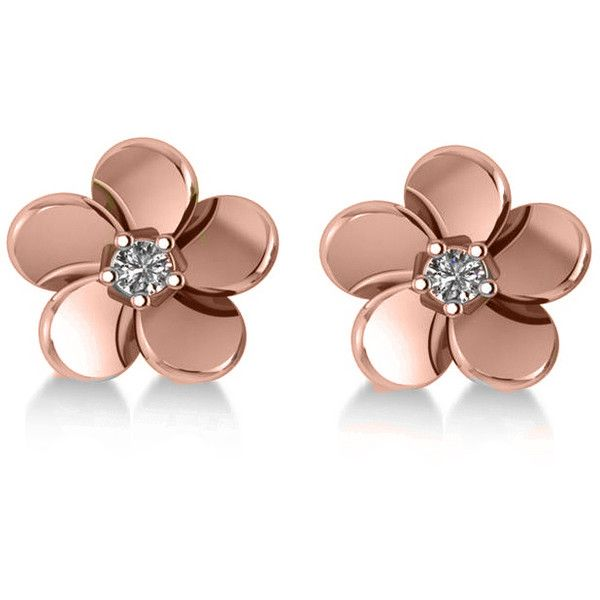 Allurez Diamond Flower Blossom Stud Earrings 14k Rose Gold (0.06ct) (£425) ❤ liked on Polyvore featuring jewelry, earrings, accessories, joias, 14k rose gold earrings, 14k earrings, diamond stud earrings, 14 karat gold diamond earrings and 14 karat gold stud earrings