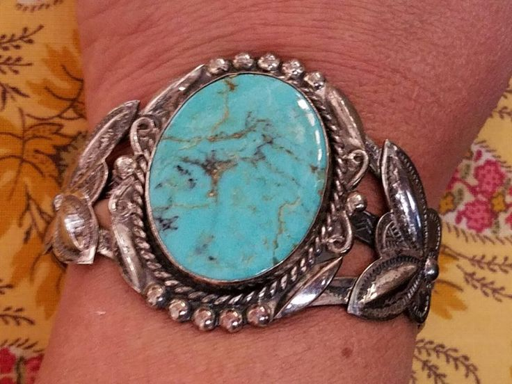 Old Bell Trading Navajo Sterling Silver Turquoise Jeweled Wide Cuff Bracelet