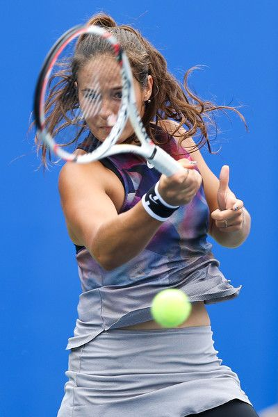 Daria Kasatkina of Russia plays a forehand during the third round Ladies Singles match against Ekaterina Makarova of Russia on Day 4 of 2017 Dongfeng Motor Wuhan Open at Optics Valley International Tennis Center on September 27, 2017 in Wuhan, China.