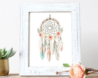 Boho Nursery Art Dream Catcher Baby Shower by KirraReynaDesigns