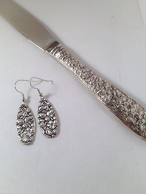 Silver Spoon Fork Knife Silverware Earrings Dangle Flatware Jewelry